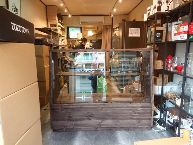 対面販売用ガラスショーケース(コーヒー豆)