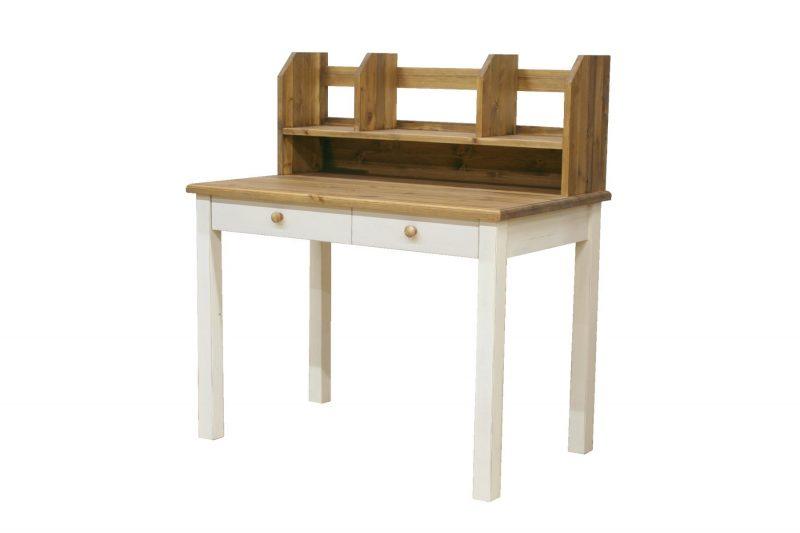 ラスティック学習机(ツートン)と上置き本棚
